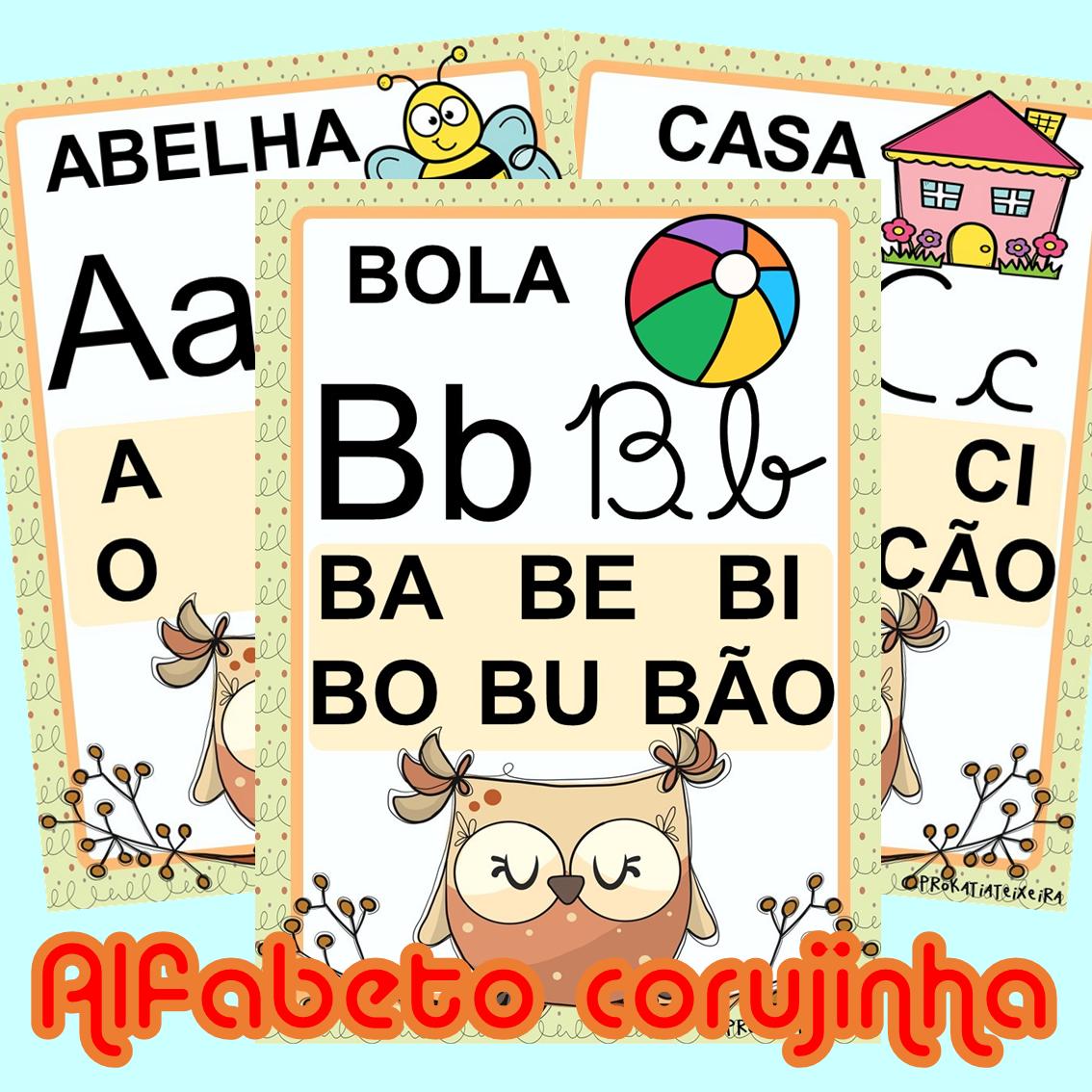 Imagem do produto Alfabeto para imprimir tema corujinha 4 tipos de letras e sílabas