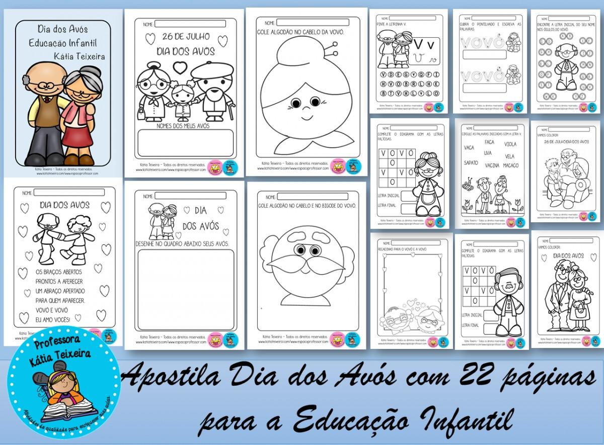 Imagem do produto Apostila de Atividades Dia dos Avós para a Educação Infantil com 22 páginas.