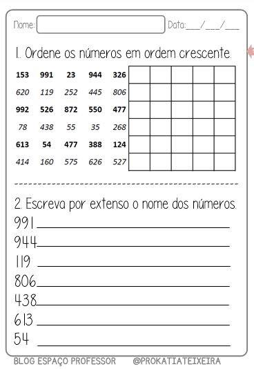 Foto2 - Atividades de matemática, ordem crescente, decrescente e escrita literal