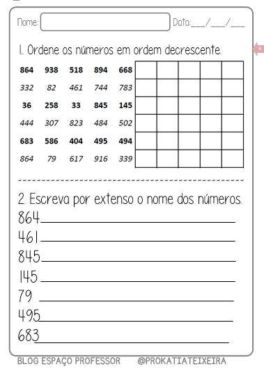 Foto3 - Atividades de matemática, ordem crescente, decrescente e escrita literal