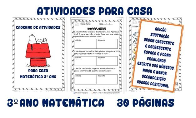Foto 1 - Atividades Para Casa Matemática 3º ano 30 páginas