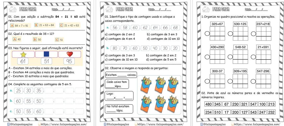 Foto2 - Atividades Para Casa Matemática 3º ano 30 páginas