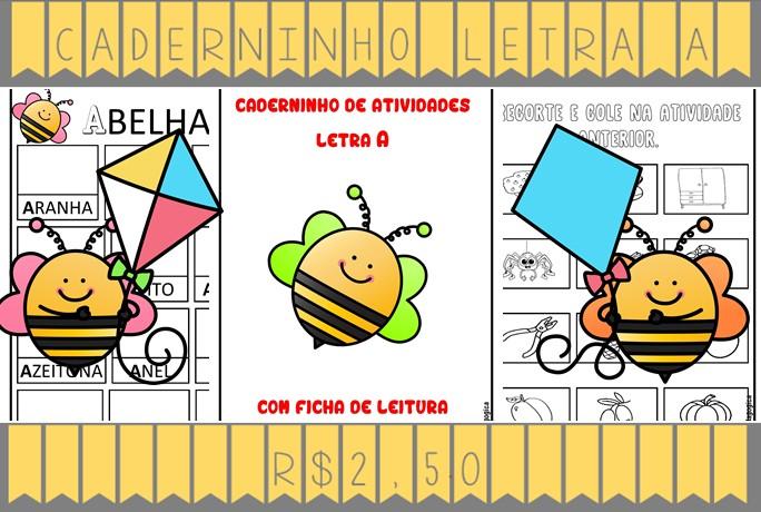 Foto 1 - Caderninho de Alfabetização letra A com fichas de leitura