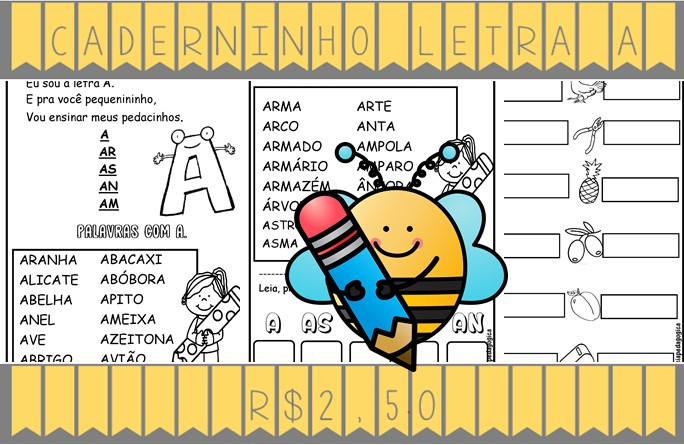 Foto2 - Caderninho de Alfabetização letra A com fichas de leitura