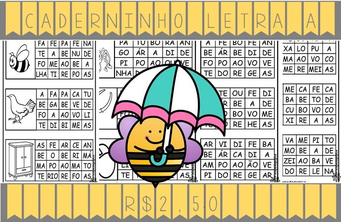 Foto3 - Caderninho de Alfabetização letra A com fichas de leitura