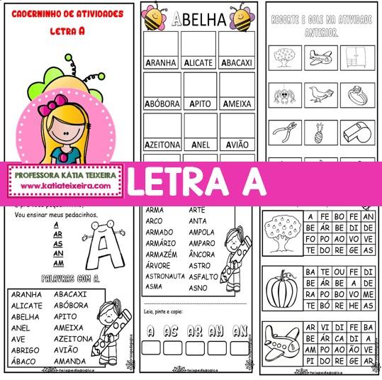 Imagem do produto Caderninho de Alfabetização letra A com fichas de leitura