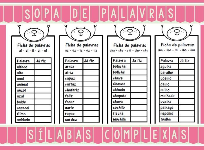Foto3 - Caderninho Sopa de Palavras com sílabas complexas.