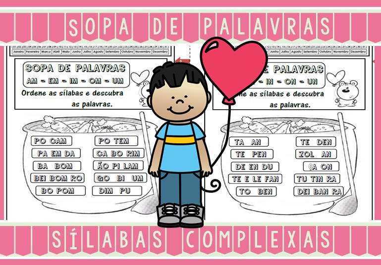 Foto7 - Caderninho Sopa de Palavras com sílabas complexas.