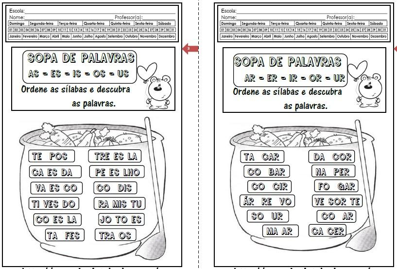 Foto2 - Caderninho Sopa de Palavras com sílabas complexas.