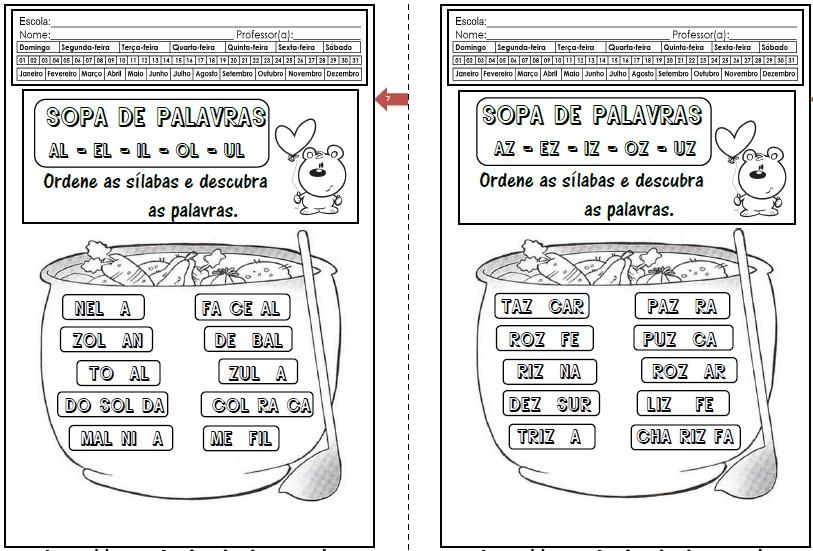 Foto4 - Caderninho Sopa de Palavras com sílabas complexas.