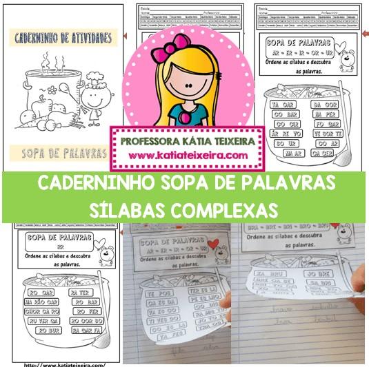 Imagem do produto Caderninho Sopa de Palavras com sílabas complexas.