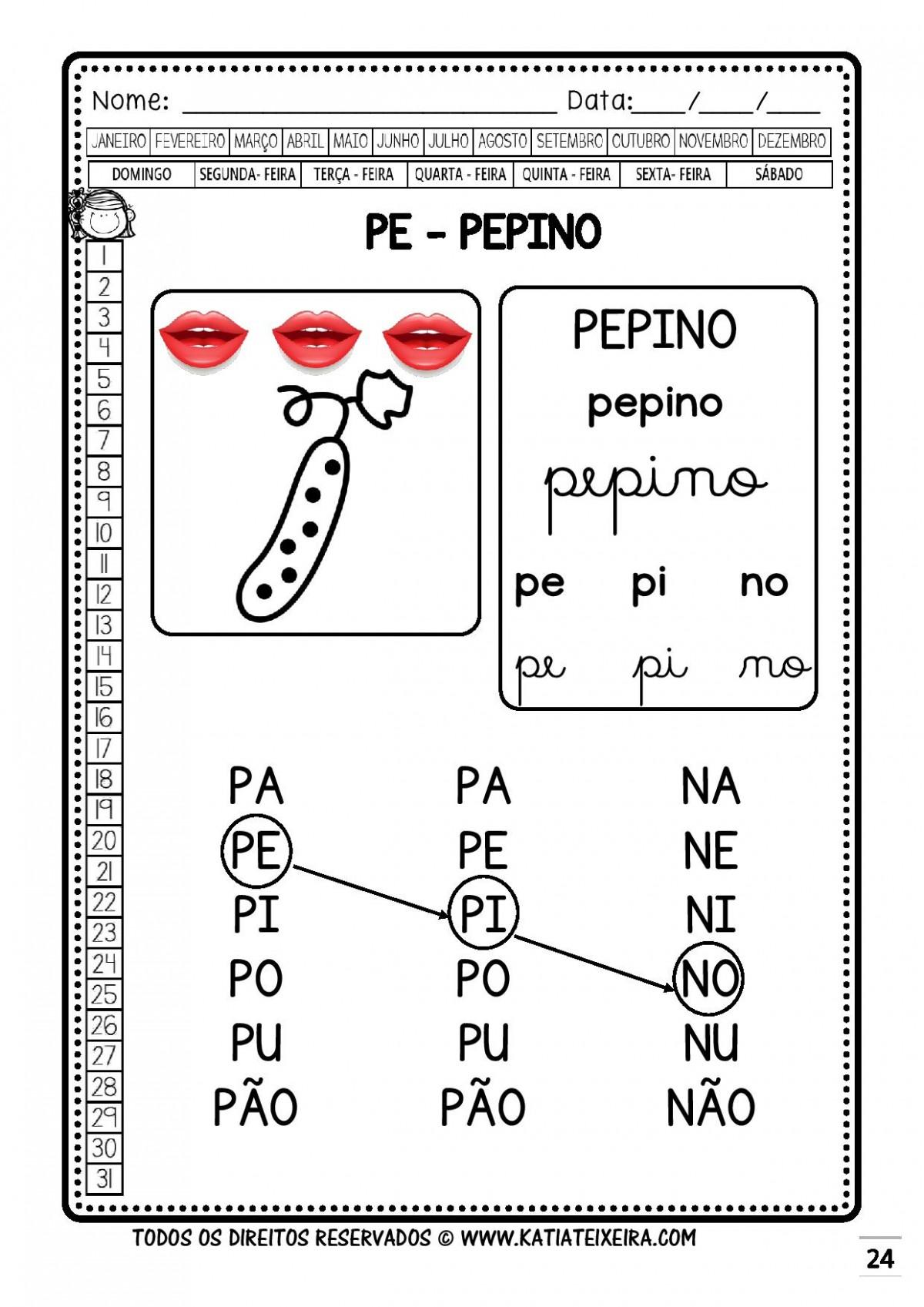 Foto2 - Caderno 1: P e B Nova Coleção Palavras Geradoras.