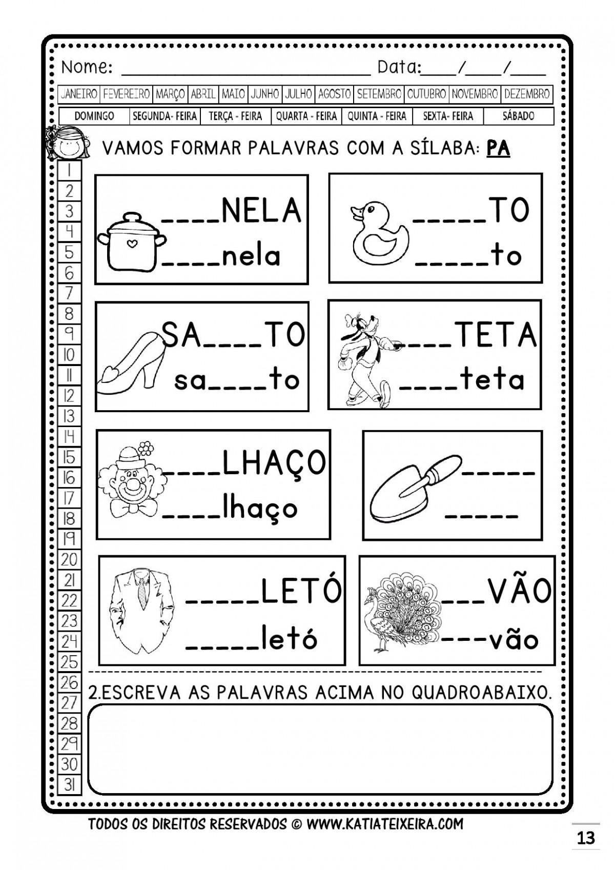 Foto4 - Caderno 1: P e B Nova Coleção Palavras Geradoras.