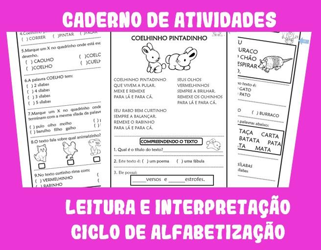 Foto2 - Caderno de Atividades Leitura e Interpretação de Textos para Alfabetização