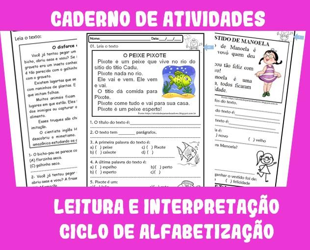 Foto3 - Caderno de Atividades Leitura e Interpretação de Textos para Alfabetização