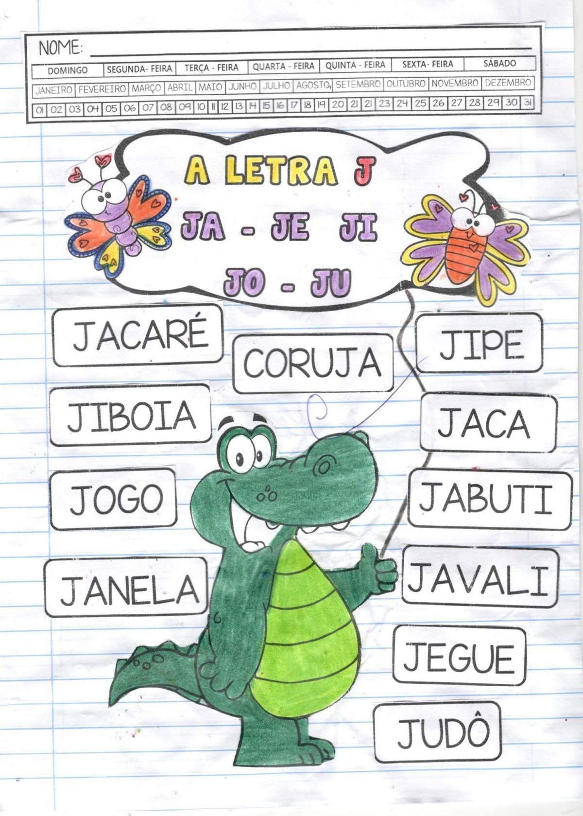 Foto2 - Caderno Jacaré de catapora com habilidades da BNCC - Letra J