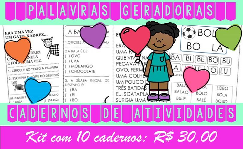 Foto2 - Cadernos de Alfabetização Palavras Geradoras. Kit com 10 cadernos