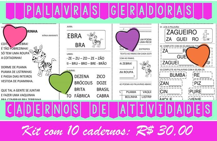 Foto4 - Cadernos de Alfabetização Palavras Geradoras. Kit com 10 cadernos