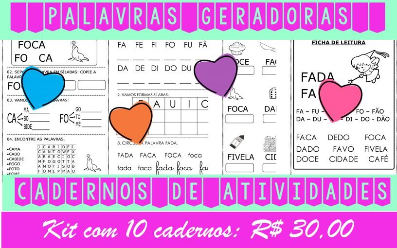 Foto5 - Cadernos de Alfabetização Palavras Geradoras. Kit com 10 cadernos