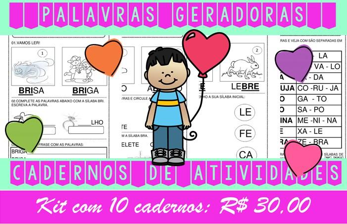 Foto6 - Cadernos de Alfabetização Palavras Geradoras. Kit com 10 cadernos