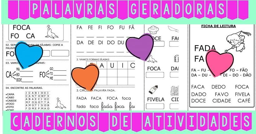 Foto 1 - Cadernos de Alfabetização Palavras Geradoras. Kit com 10 cadernos