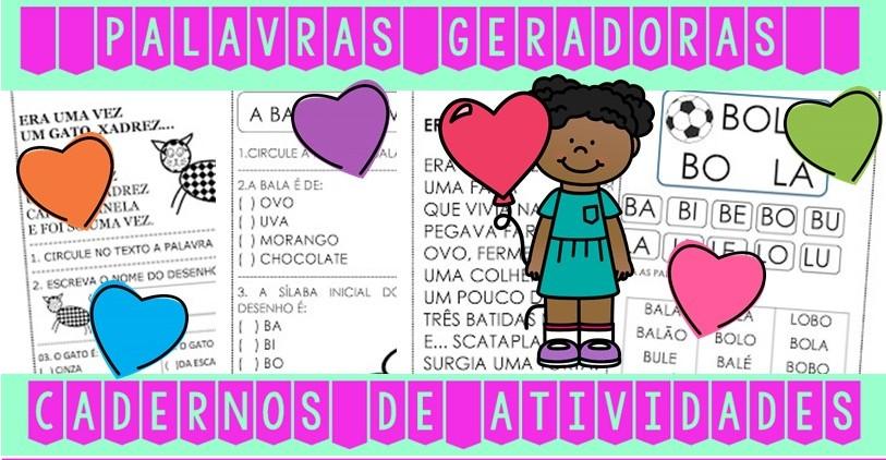 Foto3 - Cadernos de Alfabetização Palavras Geradoras. Kit com 10 cadernos