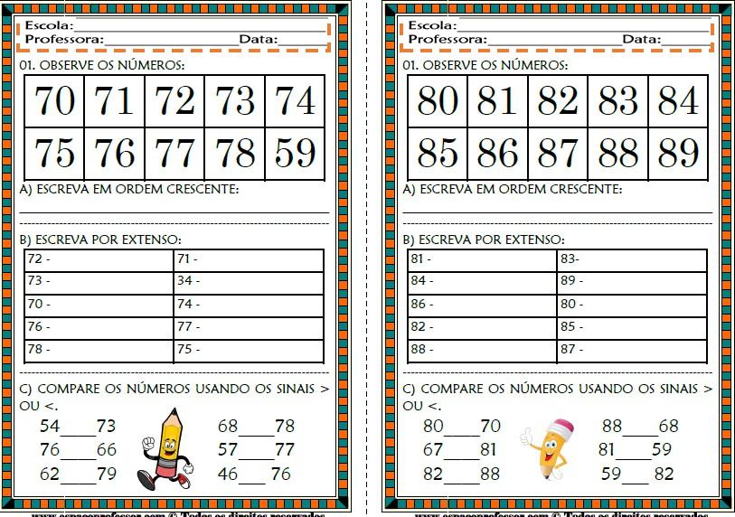 Foto2 - Cadernos de Atividades Matemática para Alfabetização Números de 0 a 100