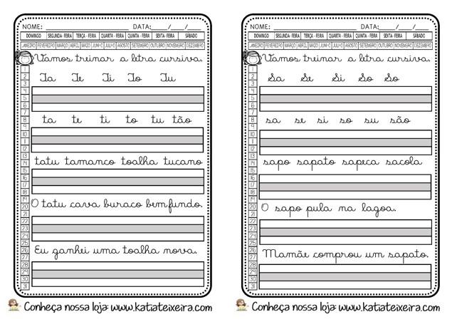 Foto2 - Caligrafia letras, sílabas, palavras e frases