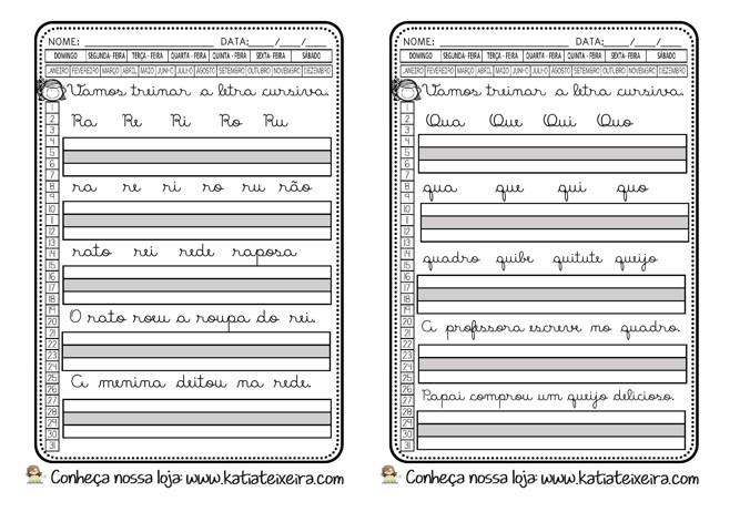 Foto4 - Caligrafia letras, sílabas, palavras e frases