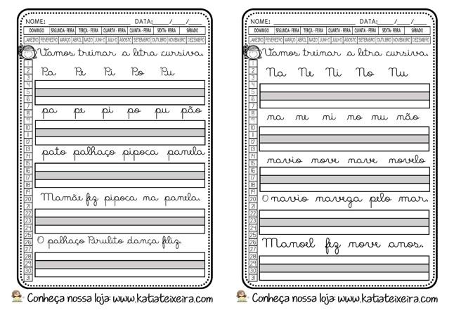Foto6 - Caligrafia letras, sílabas, palavras e frases