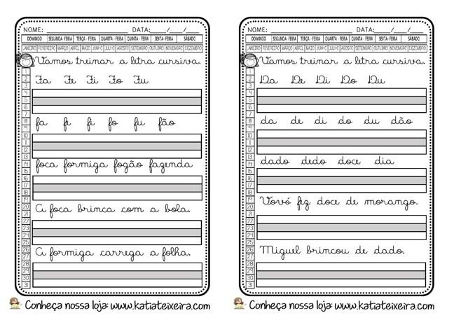 Foto8 - Caligrafia letras, sílabas, palavras e frases