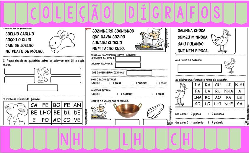 Foto2 - Coleção Dígrafos NH, LH e CH. Desconto especial na compra dos 03 cadernos