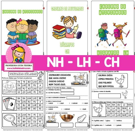 Imagem do produto Coleção Dígrafos NH, LH e CH. Desconto especial na compra dos 03 cadernos