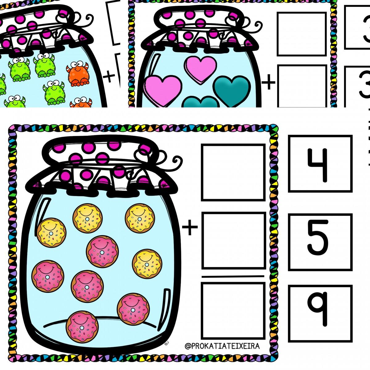 Imagem do produto Jogo adição 1 a 9 tabuada simplificada com 55 fichas. Atividades de adição para autistas
