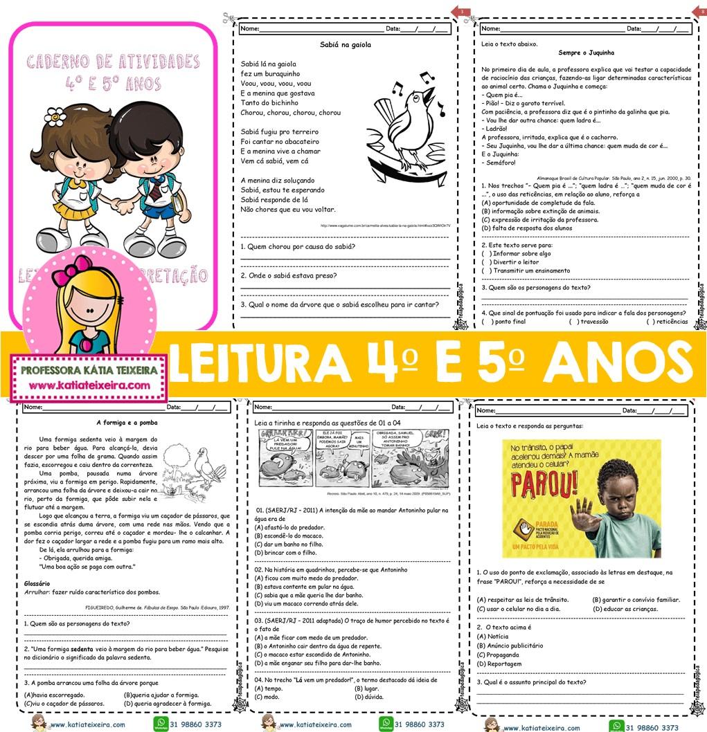 Imagem do produto Novo caderno leitura e interpretação 4º e 5º ano