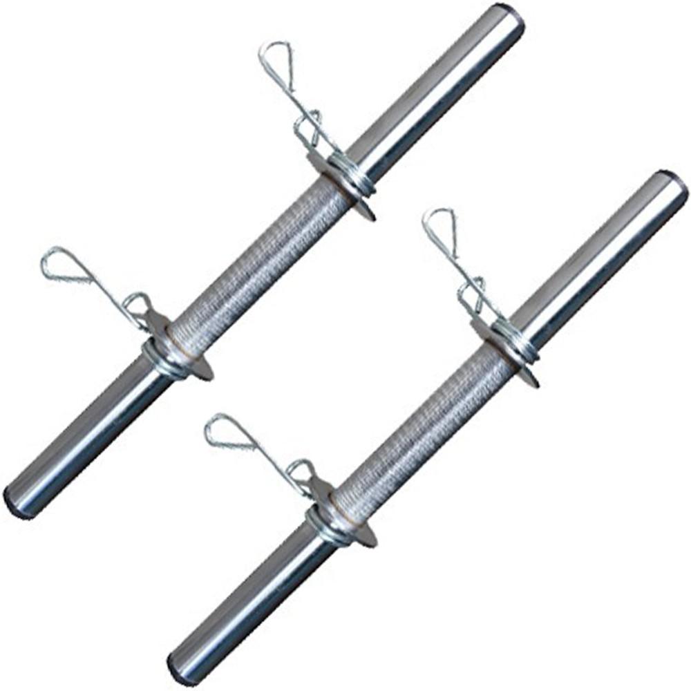 Foto 1 - 2 Barra de 40cm Cromada c/ Presilhas e Recartilho para colocação de Pesos / Anilhas - Fitness Prado
