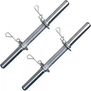 Foto1 - 2 Barra de 40cm Cromada c/ Presilhas e Recartilho para colocação de Pesos / Anilhas - Fitness Prado