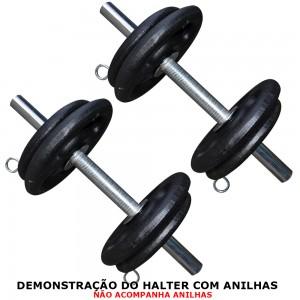 Foto2 - 2 Barras / Halteres de 40cm Maciças Cromadas c/ Recartilho para Treinos de Musculação - Fitness Prado