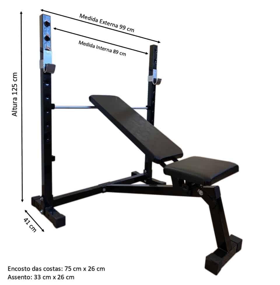 Foto7 - Banco de Supino c/ 3 posições Reto, inclinado e declinado para treinar em Casa - Fitness Prado