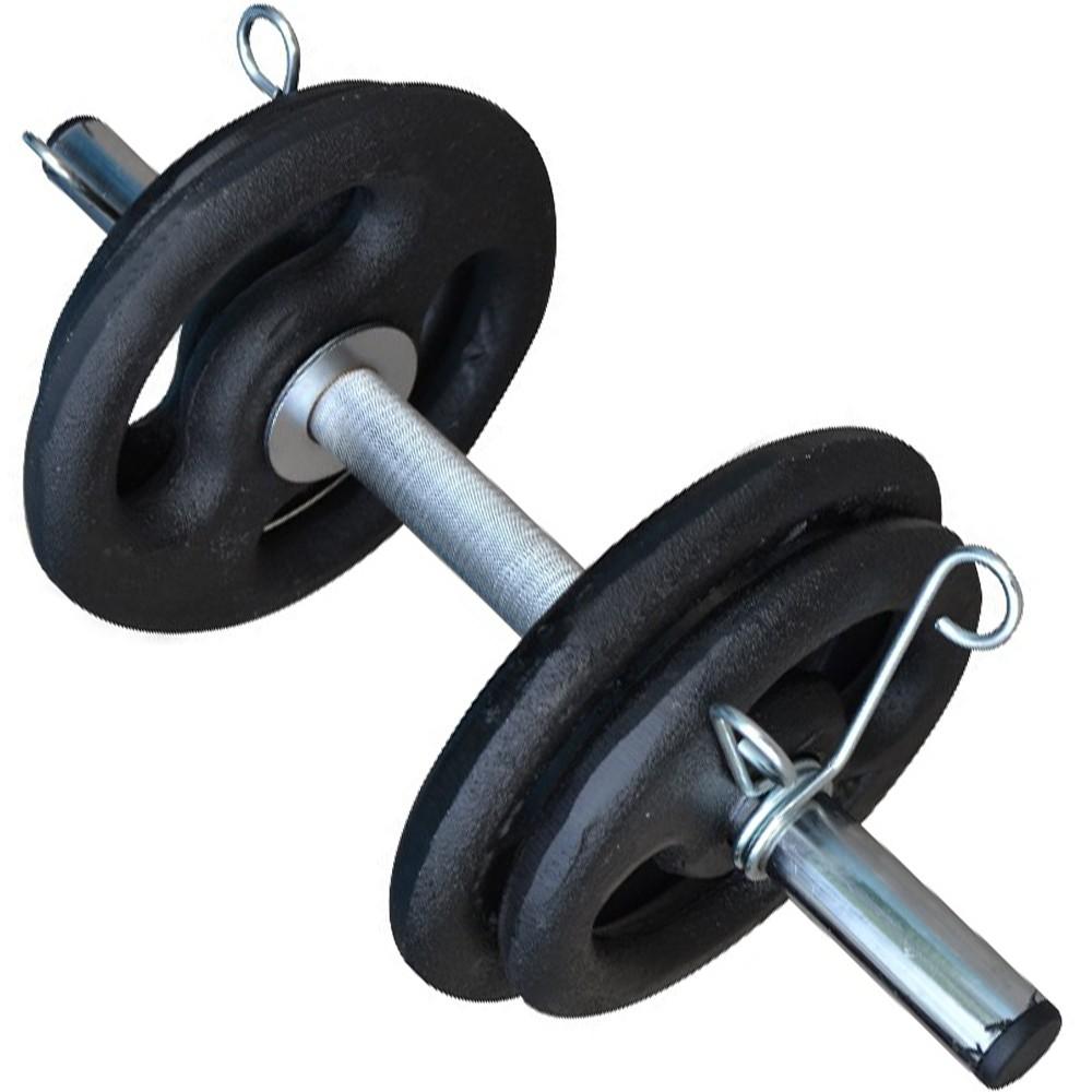 Foto2 - Barra de 40cm Cromada c/ Presilhas e Recartilho para colocação de Pesos / Anilhas - Fitness Prado