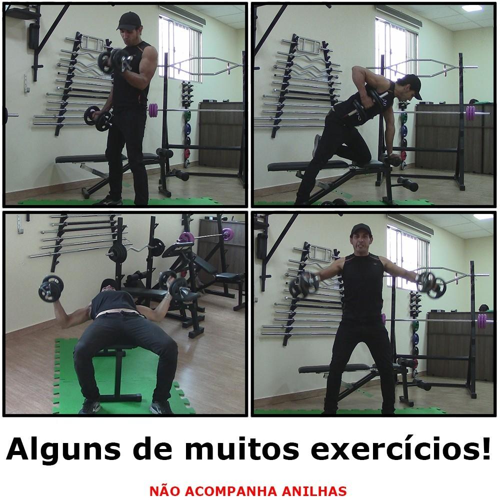 Foto3 - Barra de 40cm Cromada c/ Presilhas e Recartilho para colocação de Pesos / Anilhas - Fitness Prado
