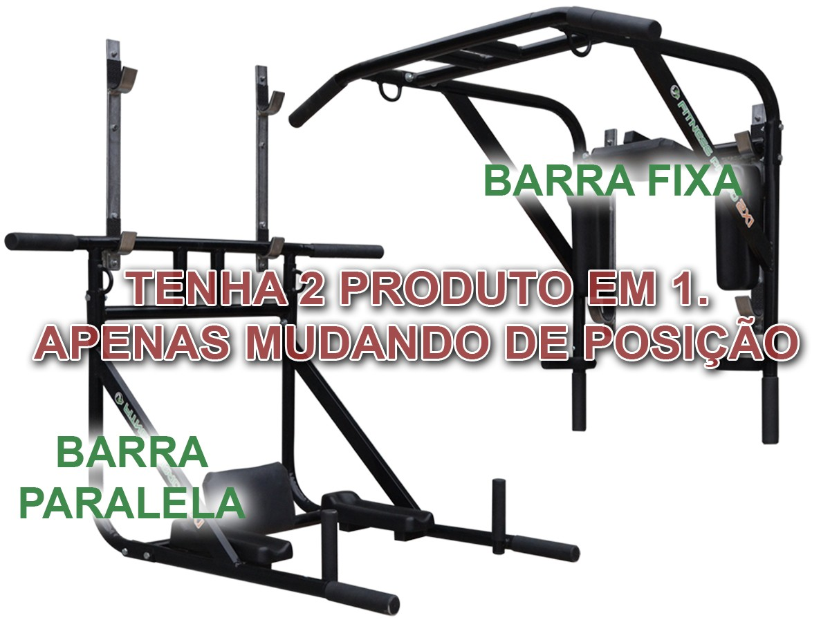 Foto4 - Barra Fixa de Parede que vira Paralela 4X1 Multiuso / Mista. Treine em Casa! Exclusividade no Brasil. - Fitness Prado