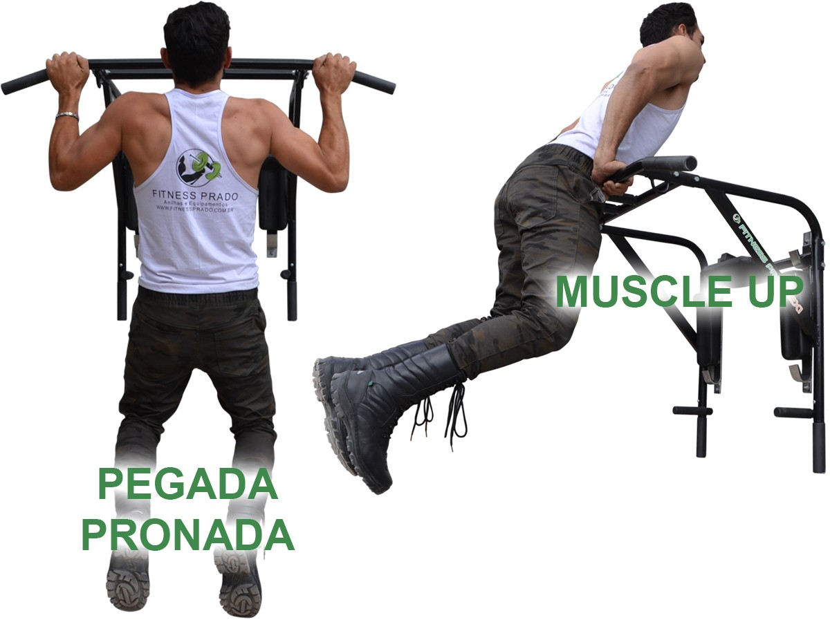 Foto7 - Barra Fixa de Parede que vira Paralela 4X1 Multiuso / Mista. Treine em Casa! Exclusividade no Brasil. - Fitness Prado