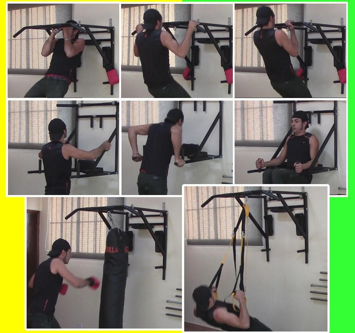 Foto7 - Barra Fixa e Paralela / Mista de Parede 4 Em 1 Multiuso. Exclusividade no Brasil. Menor Preço e Melhor Qualidade! - Fitness Prado