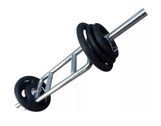 Foto3 - Barra H Maciça Cromada C/ Presilhas para Musculação - Musculação em Casa ou Academia