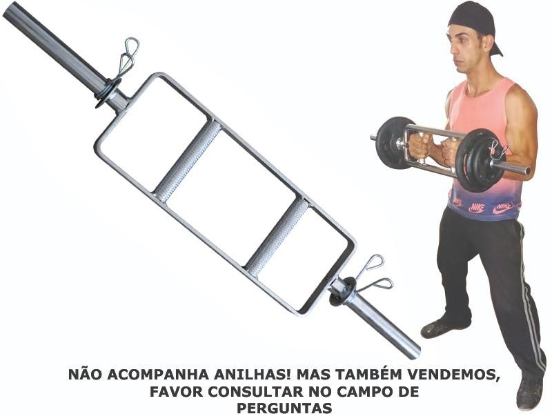 Foto2 - Barra H Maciça Cromada C/ Presilhas para Musculação - Musculação em Casa ou Academia