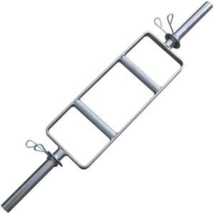 Foto1 - Barra H Maciça Cromada C/ Presilhas para Musculação - Musculação em Casa ou Academia