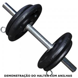 Foto3 - Barra de 40cm Maciça Cromada c/ Presilhas e Recartilho para colocação de Pesos ou Anilhas - Fitness Prado