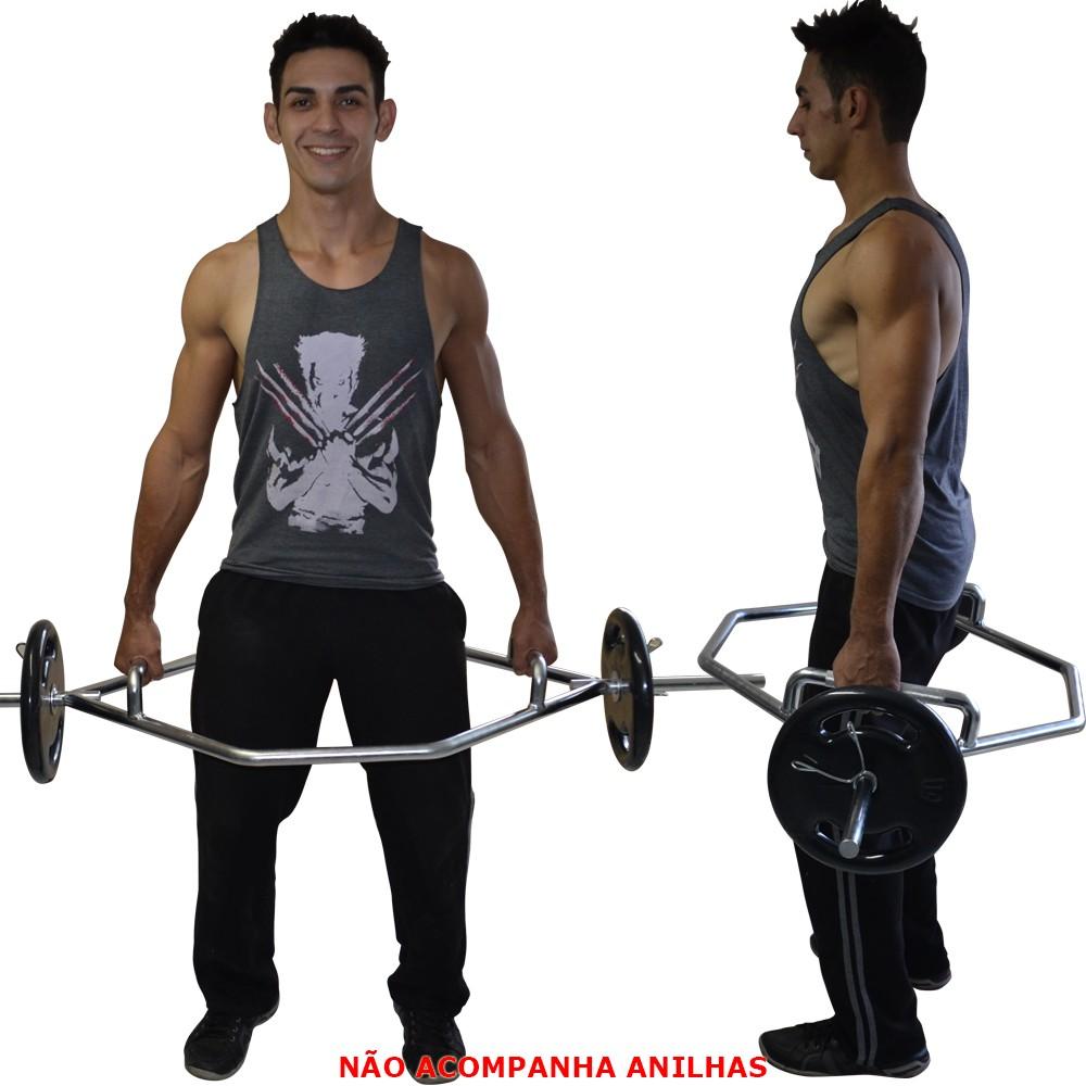Foto3 - Barra Hexagonal Maciça Cromada Barra Para Levantamento Terra - Melhor Barra | Fitness Prado