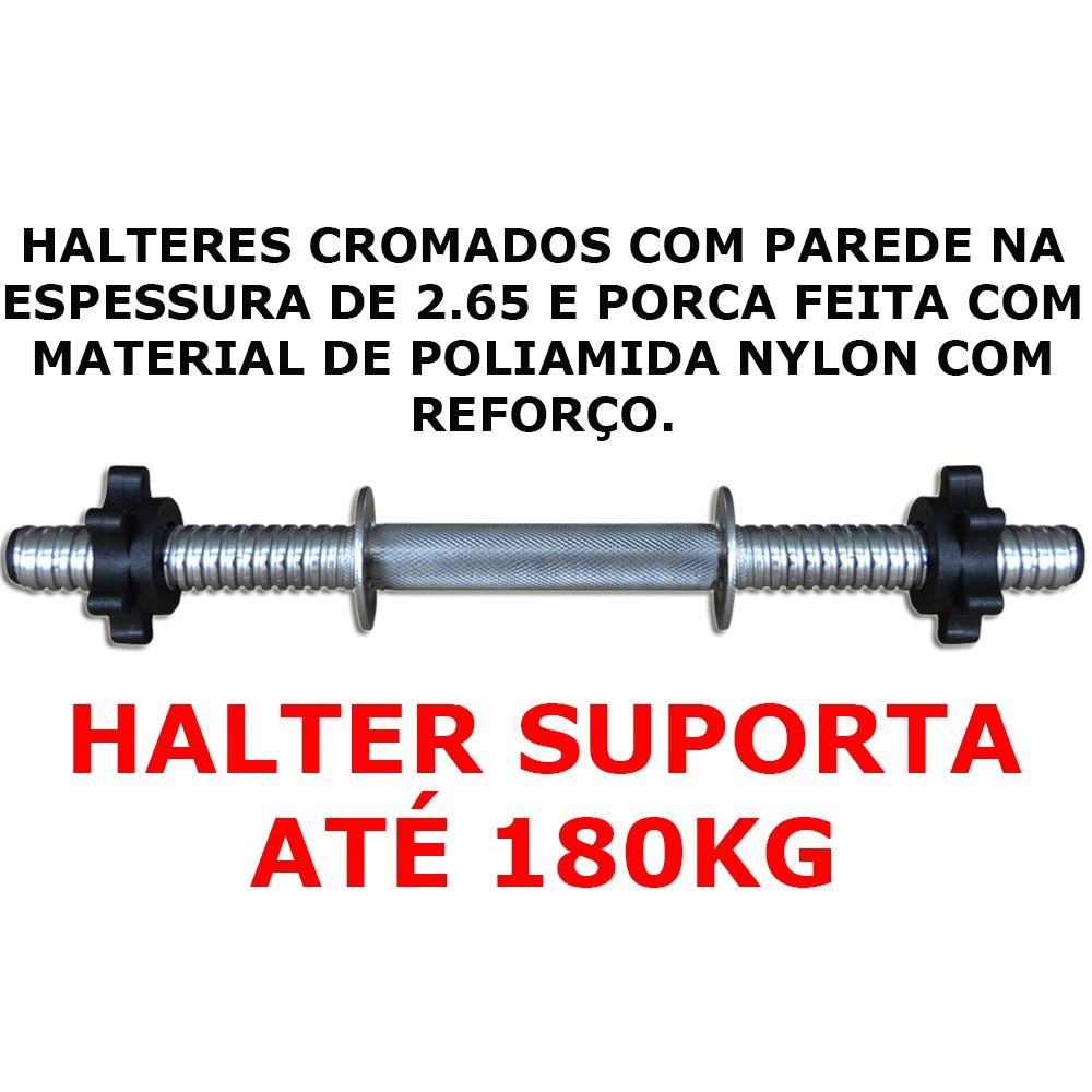 Foto3 - Halter / Barra de 40cm com Sistema Prático de Rosca para Anilhas. Melhor Barra | Fitness Prado